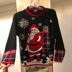 Vintage Christmas Sweater - Youth L / Adult S Crop
